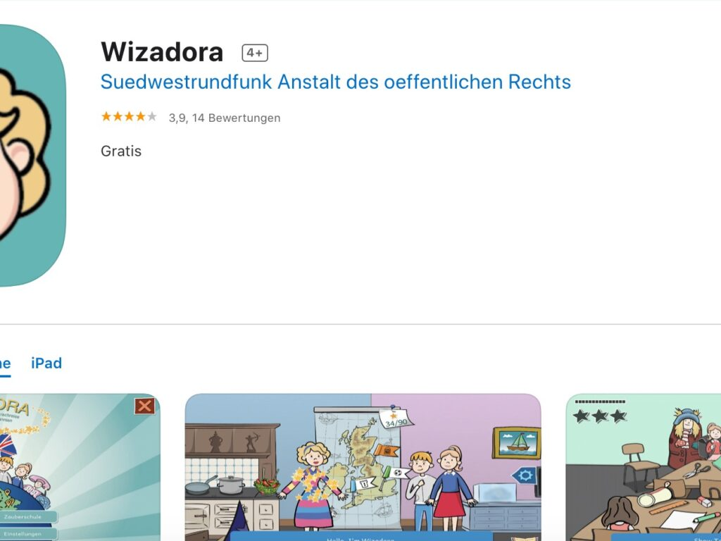 Screenshot der App Wizadora aus dem Apple App Store