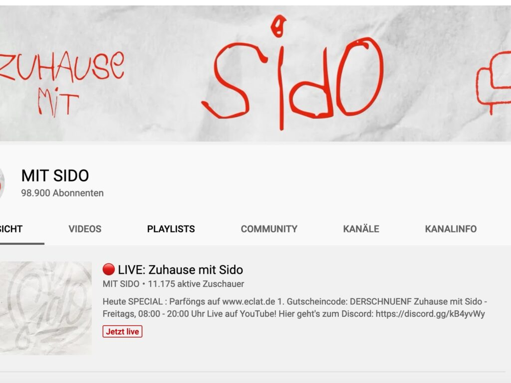 screenshot YouTube Kanal MIT SIDO