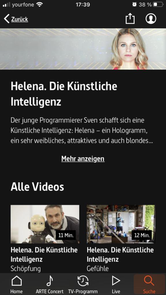 Screenshot zur ARTE Mediathek r Seite Helena die Künstliche Intelligenz