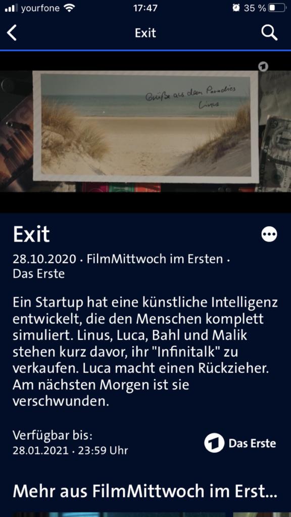 Screenshot auf der ARD Mediathek zum Film exit