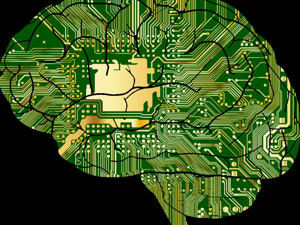 Künstliche Intelligenz - Das Bild zeigt ein grüne Computerplatinen in Form eines Gehirns